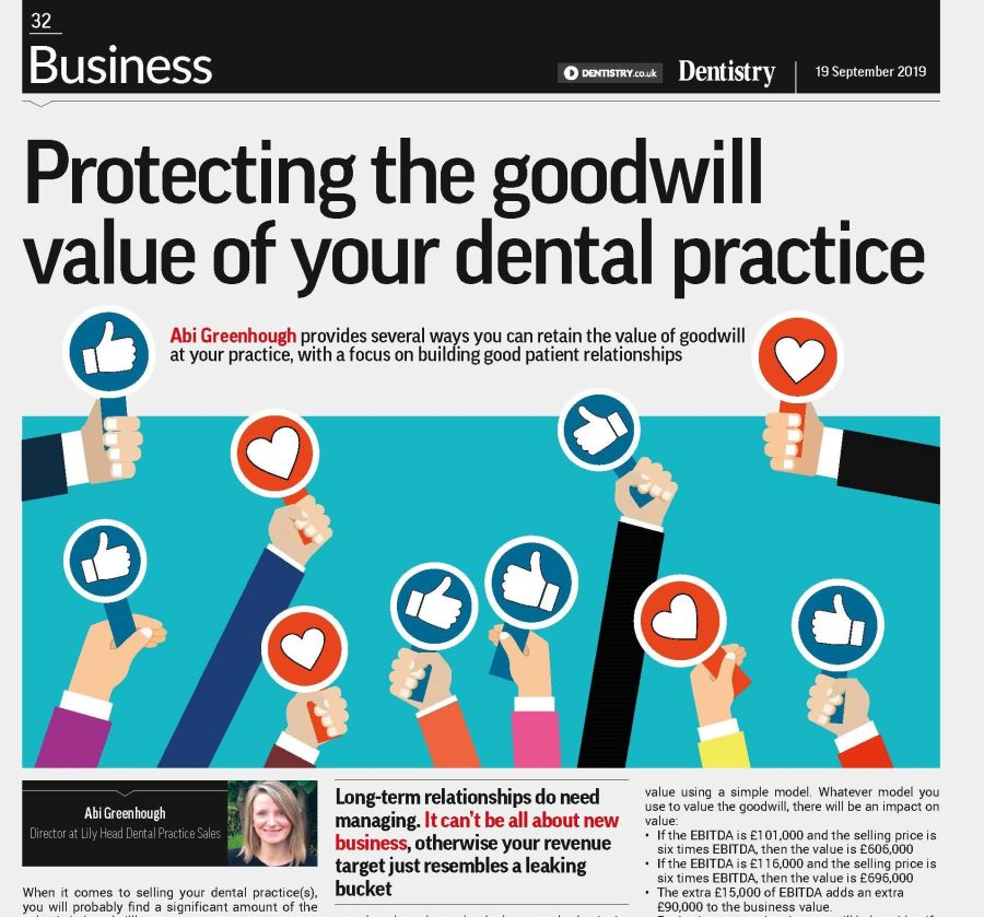 Goodwill Value of your dental practice - Lily Head Dental Practice Sales